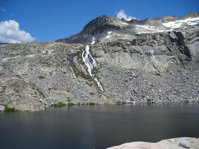 Upper Twin Lake  Upper Twin Lake, the waterfall, and the beginning of clouds. Thunderstorms were in the forecast so we were keeping a close eye on the sky.