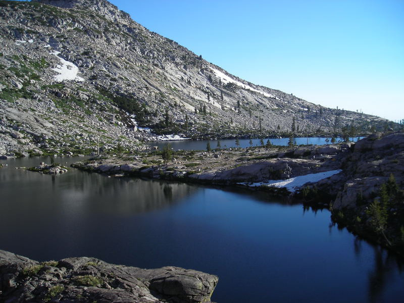 View across the upper twin lake.