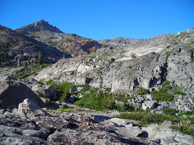 View toward island lake and little pyramid peak