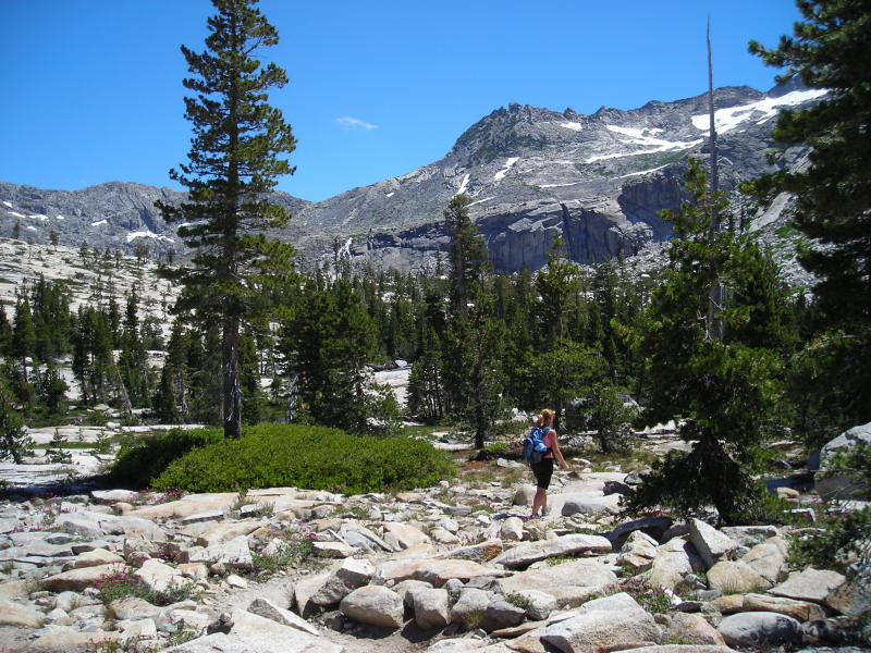 Approaching Twin Lakes<br /> <br /> Theresa hikes across the granite as the lake basin comes into view