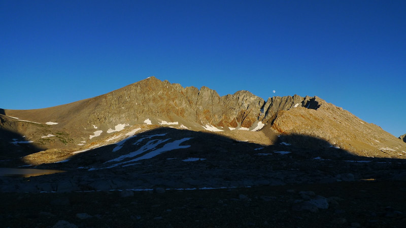 Split Mountain, the shadow profile of Mather Pass, and moonrise. This was a beautiful place!