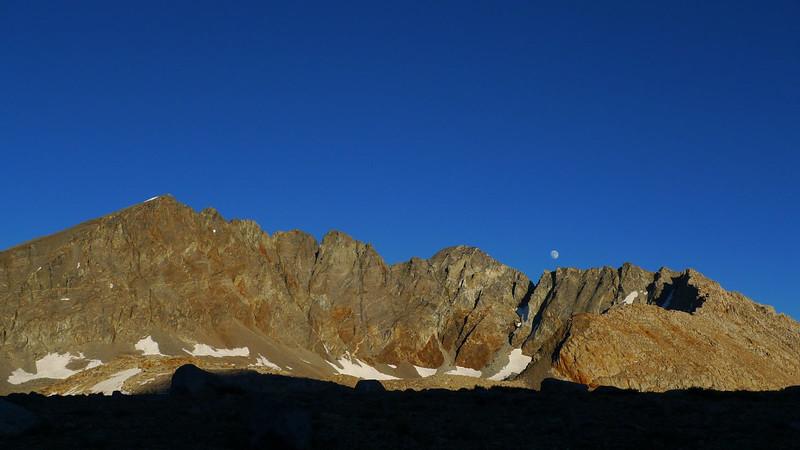 Moonrise behind Split Mtn from camp