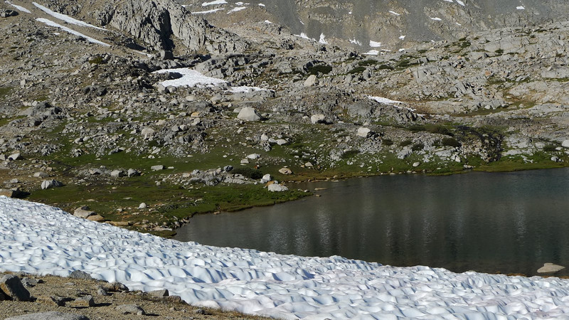 We cut off of the JMT and head cross-country about half a mile to our intended camp area. At this first lower lake we see some critters.