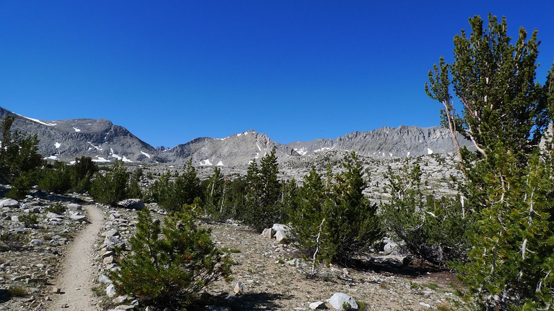 We'll cut to the right before we reach Mather Pass.