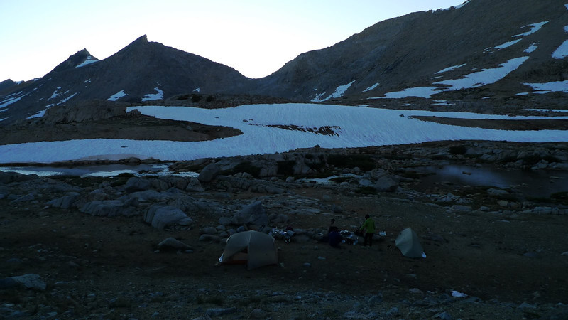 Our campsite at Lake 3535. Mather Pass is the low point in the distance.