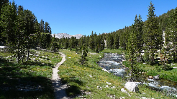 The Freeway of the JMT. Doesn't matter - this place is beautiful and I'm enjoying every minute of it. The trail through Upper Basin is a gentle and easy steady climb. It's really enjoyable.