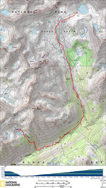Today's route - back down along the old JMT then up Upper Basin on the regular JMT. Just below Mather Pass we head cross country to Lake 3535 to base camp for Split Mtn.
