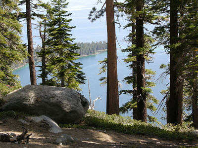 As we climb, we're treated to views of Lake Tahoe and Emerald Bay