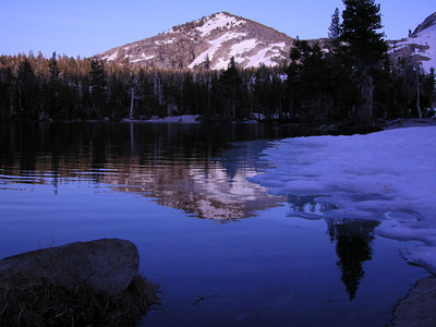 Unnamed peak and snow at Upper Velma, dusk