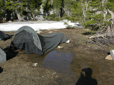 During the night, moisture leaked through the soil and flooded Paige  Tents were moved for night 2!