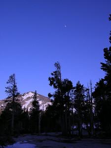 Moon above unnamed peak above Upper Velma Lake