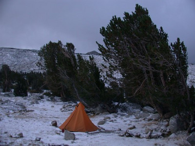 The wind blew brutally all night long. The dust swirled under the Hex 2 and made us rather miserable. Until the snow started. Once the snow started everything seemed much nicer. You can see that this is a regularly wind-blown area from the trees next to camp.
