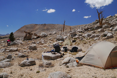 We set up camp in a nice flat spot in between lakes.
