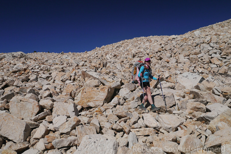 Pavla in the boulder field.