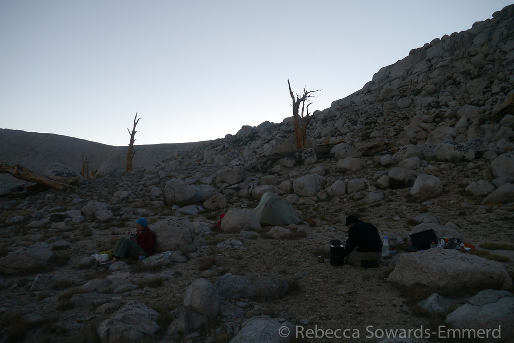 It had been warm under the exposed sun all day but the temp dropped quickly when the sun went down. Camp was at over 11.5k.