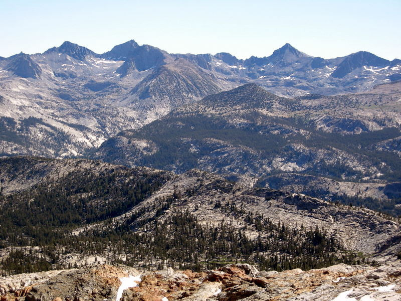 Mclure, Lyell, and Rodgers peaks as viewed from Red Peak Pass