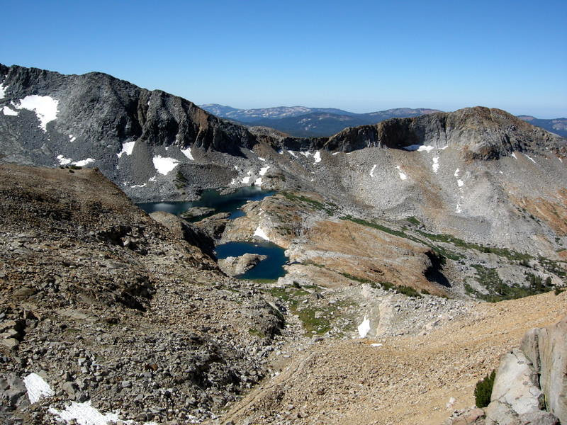 View from Red Peak Pass<br /> <br /> Upper Ottoway Lake(s) and the trail far below