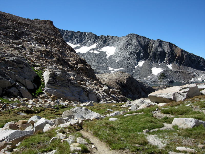 Looking back toward Upper Ottoway Lake from the trail to Red Peak Pass