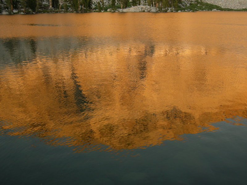 Sunset reflection at Upper Chain Lake<br /> <br /> Night 1 was spent at Upper Chain Lake - only one other person was there