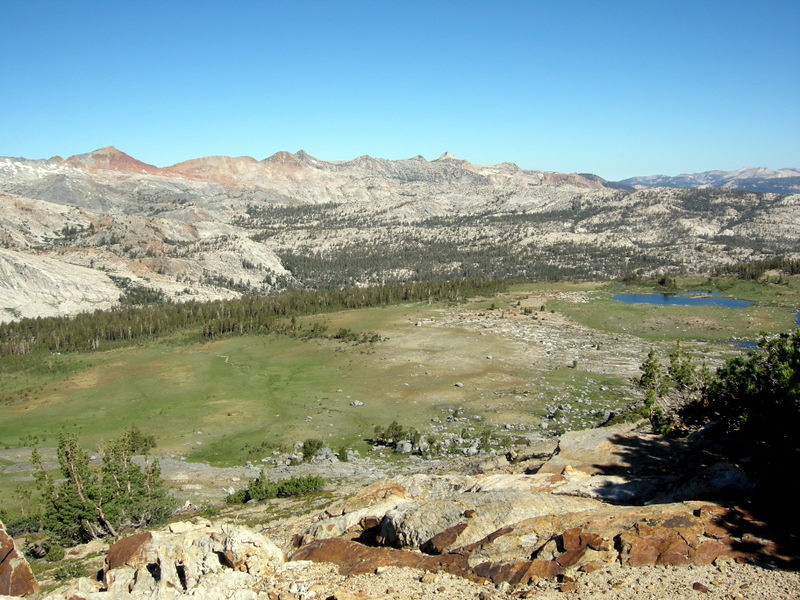 The meadow where we camped, and the Clark Range that we came over yesterday