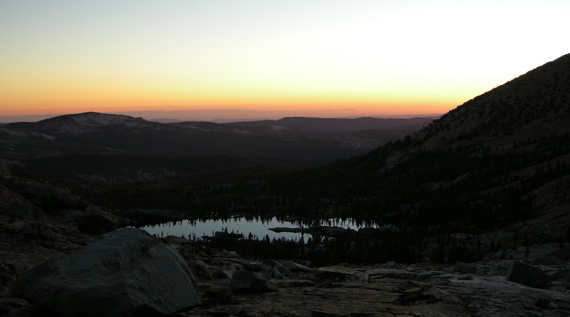 Sunset over the central valley, far below, and Lower Ottoway Lake