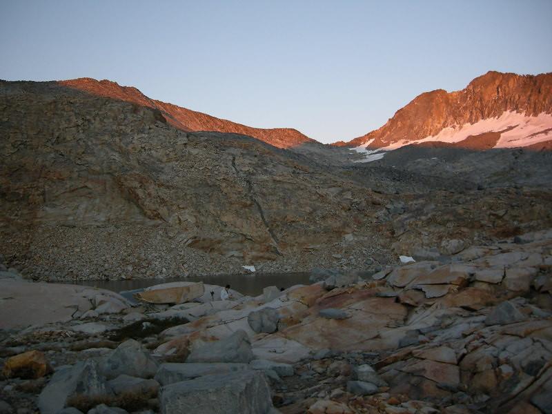 Alpenglow on Merced Peak (right) and Ottoway Peak (left)