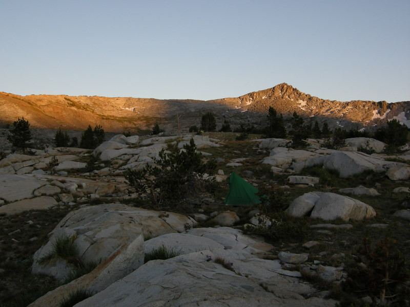 View toward Isberg and Post Peak Passes at sunset