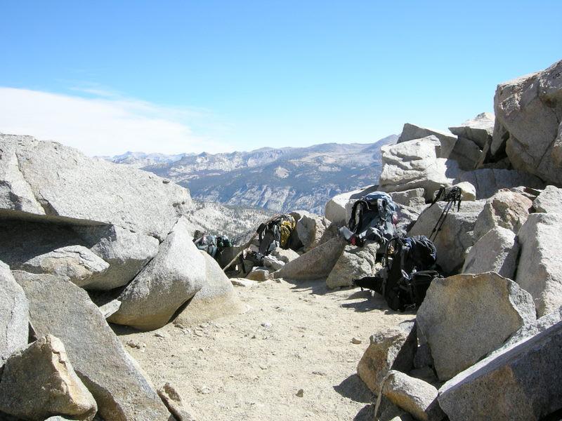 Packs Piled up at Red Peak Pass
