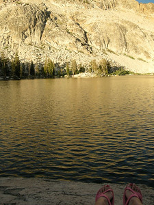 A 'Maria' shot - my feet and the sunset glow on Upper Chain Lake