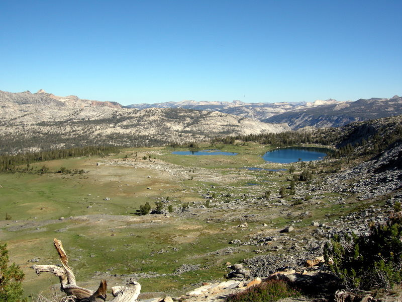 Looking down from the climb to Post Peak Pass<br /> <br /> We camped at the smaller lake on the left - the best swimming lake I've found in the high sierra! (as of that date, anyways)