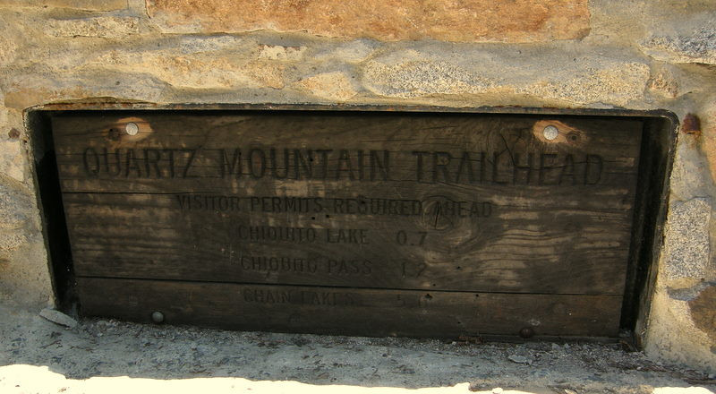 Sign at Quartz Mountain Trailhead<br /> <br /> This trailhead is awkward to get to, but it avoids Yosemite and makes the hike a bit shorter.