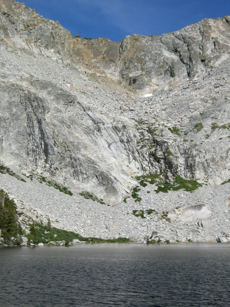 Waterfalls (trickles) across Upper Chain Lake from Camp