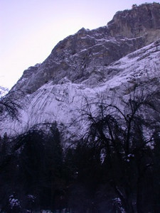 Ice on Yosemite valley walls
