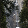 Last shot of Yosemite Falls<br /> <br /> Notice the cone of ice/snow at the base, formed by the spray