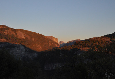 Driving in on Friday evening I just caught the orange sunset light on Half Dome
