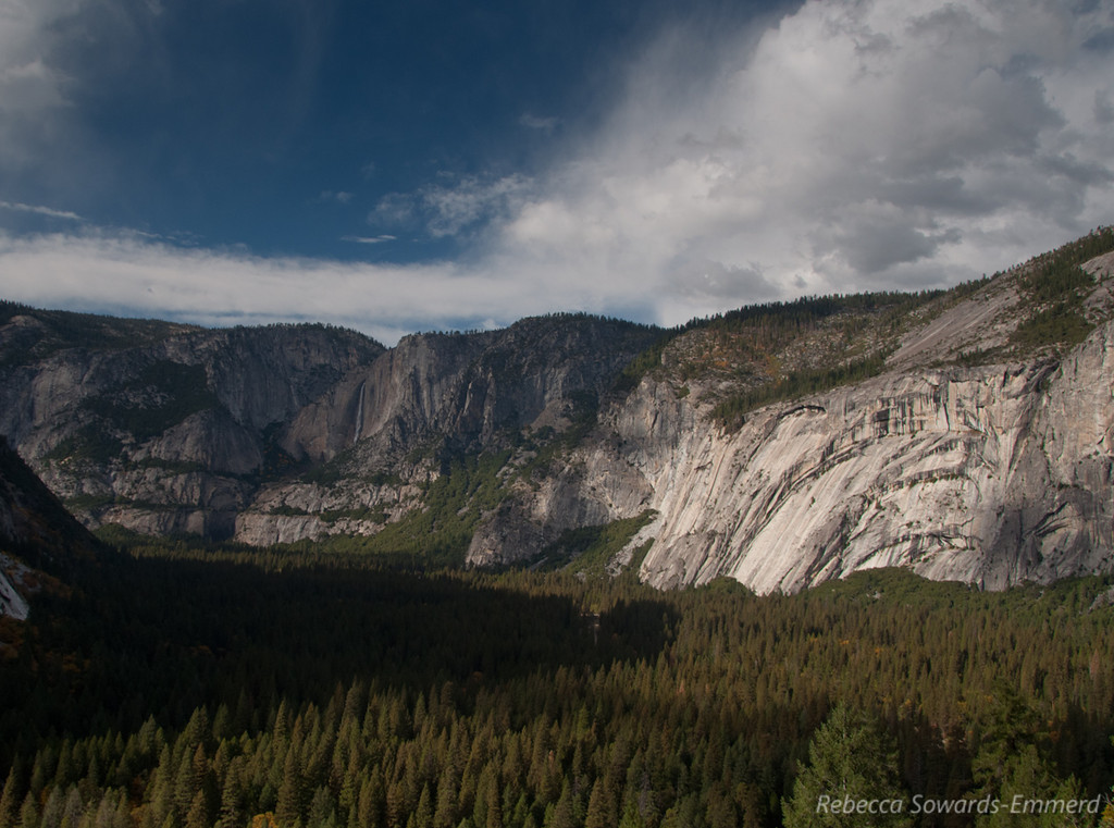 There are about 1000 feet to climb to the point and about half way up the views start to open up. There is Yosemite Falls!