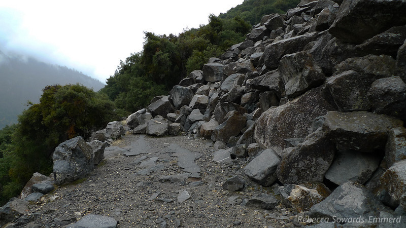 Many places where rocks have overtaken the old road.