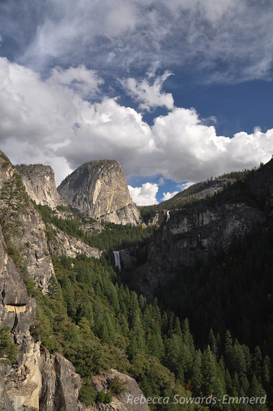 Liberty Cap with Vernal and Nevada Falls. View from Sierra Point