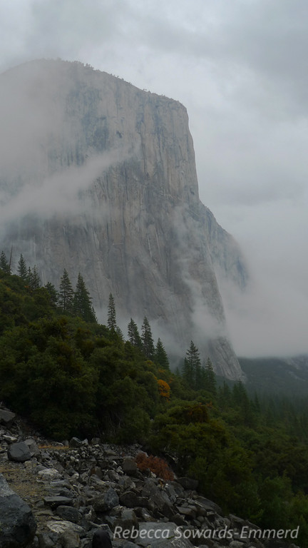 El Capitan overtaken by the storm.
