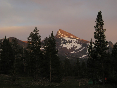 Back at the campsite we watched the storm slooowly clear away. The sun breaks through on Mt. Dana in this picture.
