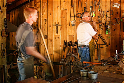 Foresthill Museum Blacksmith shop - demonstrating how boring into rock wall was done.