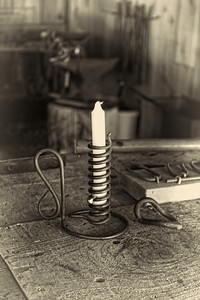 Courting candle at Foresthill Museum Blacksmith shop