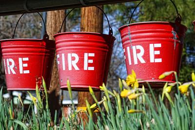 Fire bucket display downtown