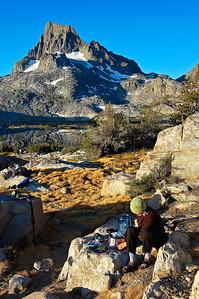 Getting breakfast under Mt. Banner