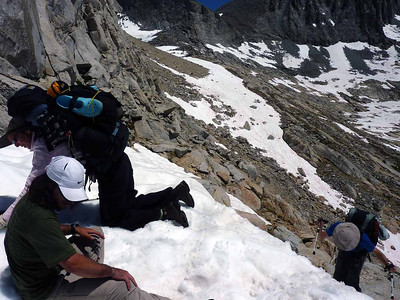 Guides Diego, Anne, and Banning on an extreme trip with friends in Kings Canyon in 2011.