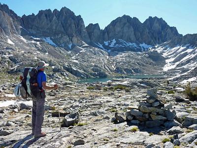 Guide Banning taking in big Beautiful Lake in Dusy Basin, Kings Canyon.