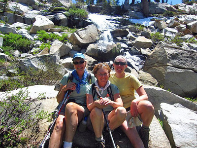 Girl Guides Karen, Val, and Carolyn near Grant Lakes, Yosemite on the Ten Lakes Trip.