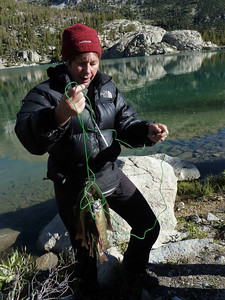 Val with freshly caught breakfast at 2nd Lake up Big Pine Creek Canyon in Inyo National Forest on our 2nd Annual High Sierra Trip.