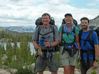 Guides Bob, Karen, and Banning on Cathedral Pass. Bob knows all the trees. On the  High Country, Cathedral Trip.