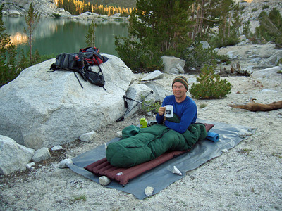 Guide Mike and coffee in bed at Second Lake in Inyo National Forest.